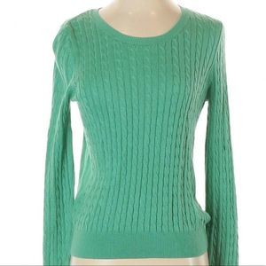 H&M | green cable knit pullover sweater